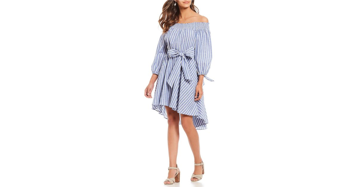 a8cc4942d5 Lyst - Eliza J Off The Shoulder Tie Waist Dress in Blue