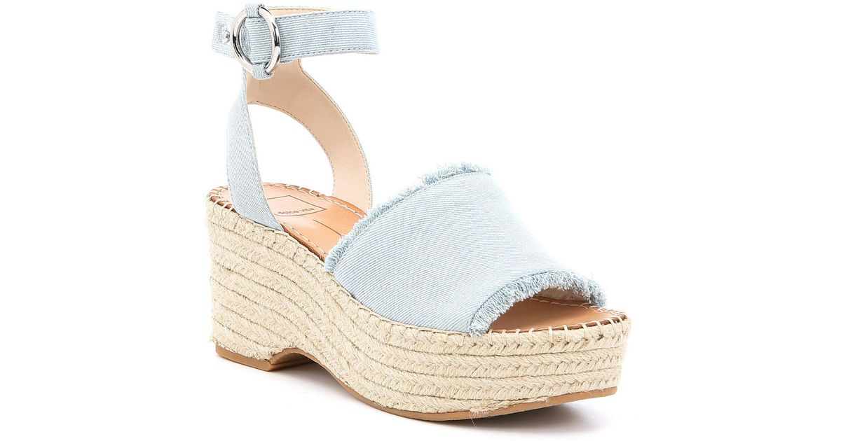 84d84afb855 Lyst - Dolce Vita Lesly Denim Ankle Strap Platform Espadrille Sandals in  Blue