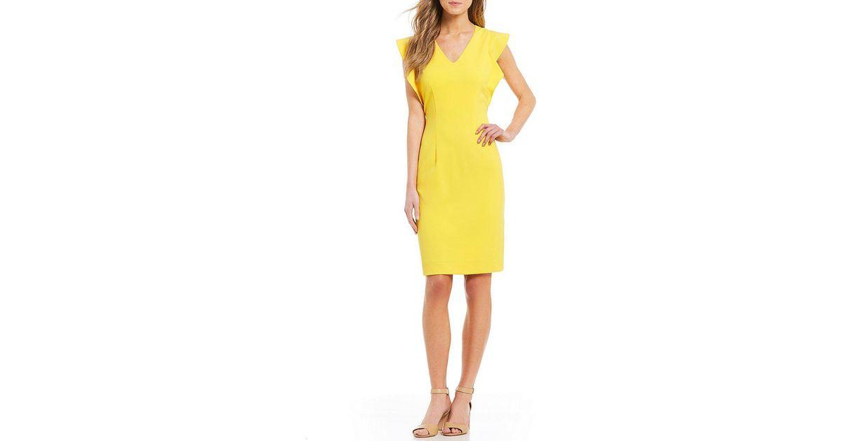 d3738a55ff0 Lyst - Antonio Melani Gale Flutter Sleeve Dress in Pink