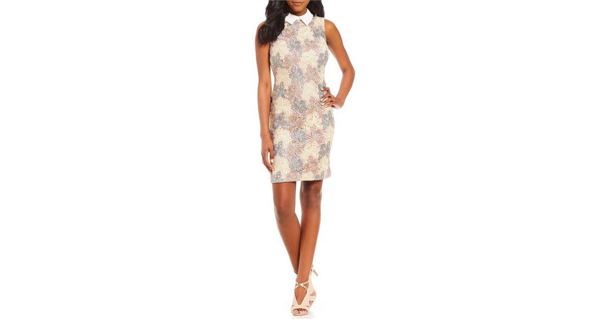 d8fd76ee51d Ivanka Trump Dresses Dillards Womens. Lyst Ivanka Trump Multi Lace Sheath  Dress In White