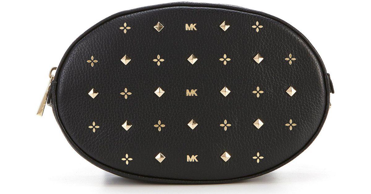 Lyst - Michael Kors Studded Oval Belt Bag in Black 817f88450448b