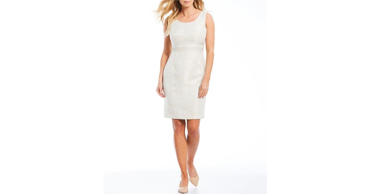 d23ce61e Lyst - Kasper Jacquard Embellished Waist Sheath Dress in White
