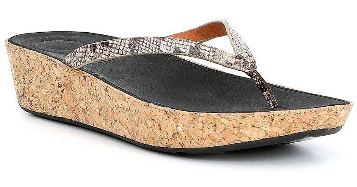 FitFlop Linny Snake Print Thong Wedge Sandals waOc01eK