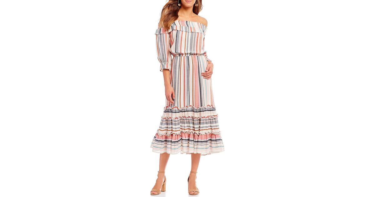 c6fa3c3d221a Lyst - Buffalo David Bitton Smocked Off The Shoulder Tiered Ruffle Gathered  Sleeve Stripe Midi Dress