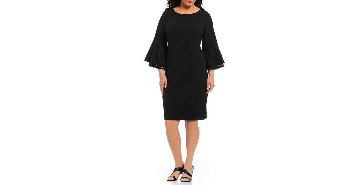 72350b45ee Lyst - Calvin Klein Plus Size Flutter Lace Bell Sleeve Sheath Dress in Black