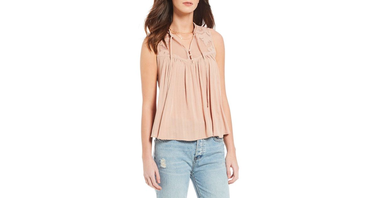Lyst free people western romance mesh applique western top in pink