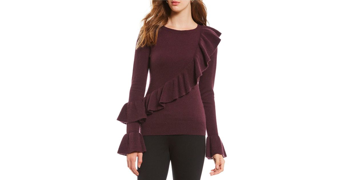 f6afb728f5b Lyst - Antonio Melani Luxury Collection Adrienne Cashmere Ruffle Bell  Sleeve Sweater in Black