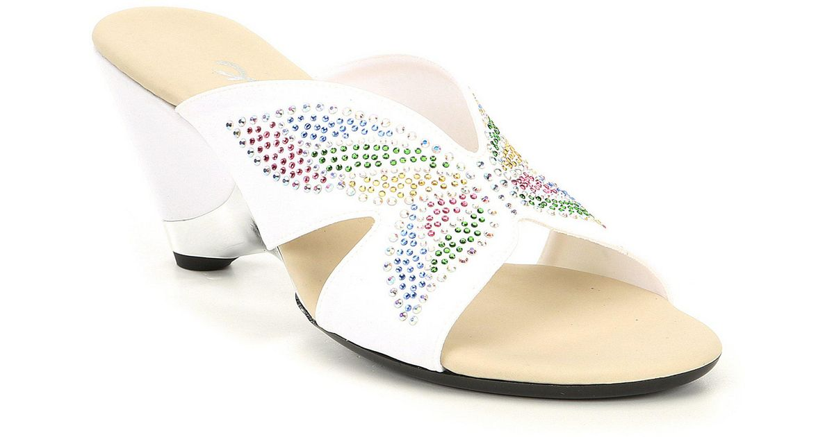 Lyst Onex Wings Butterfly Jeweled Dress Slides In White