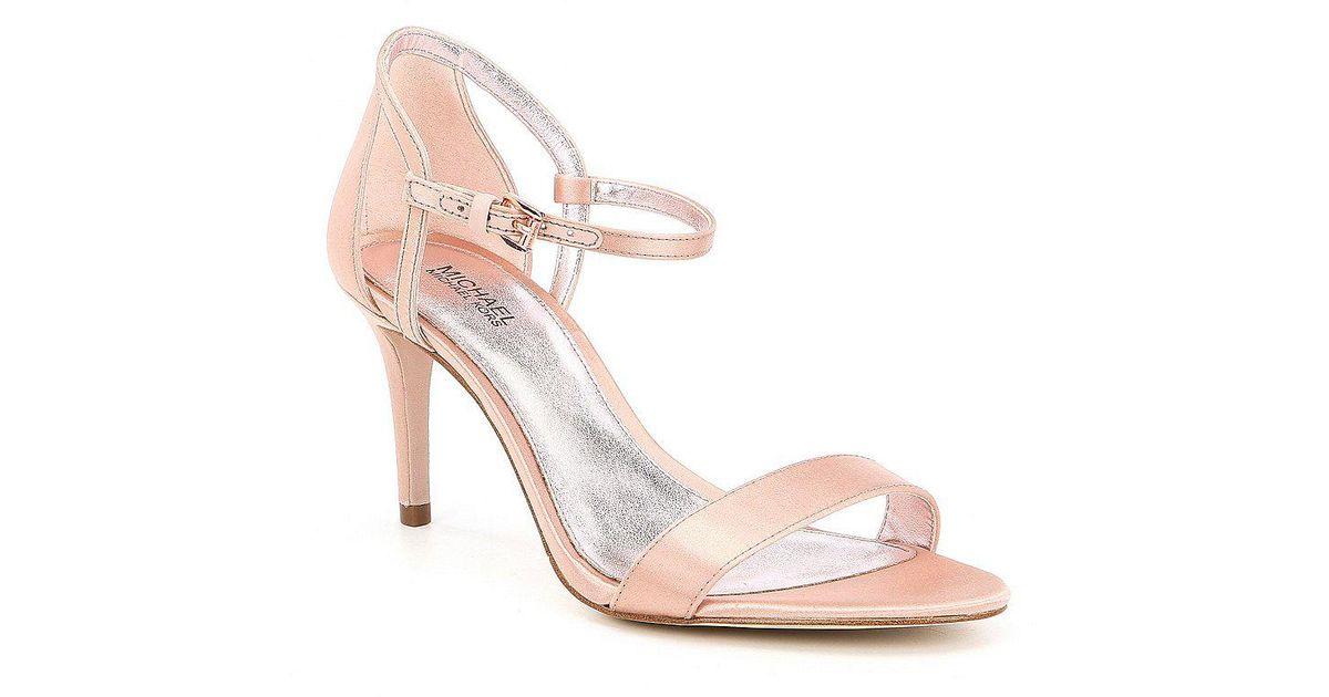 2bb140d7f4b Lyst - MICHAEL Michael Kors Simone Satin Mid Dress Sandals in Pink