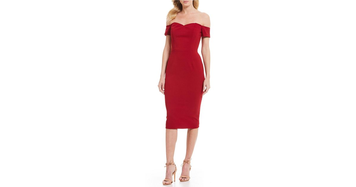 1092e12f Lyst - Dress the Population Bailey Off-the-shoulder Midi Length Sheath Dress  in Red