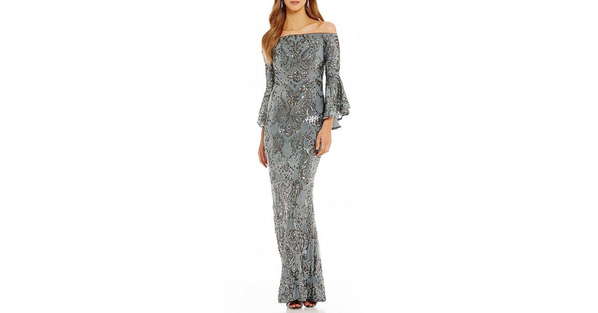 e20c255d613 Betsy   Adam Sequined Off-the-shoulder Flutter Sleeve Sequined Gown - Save  74% - Lyst
