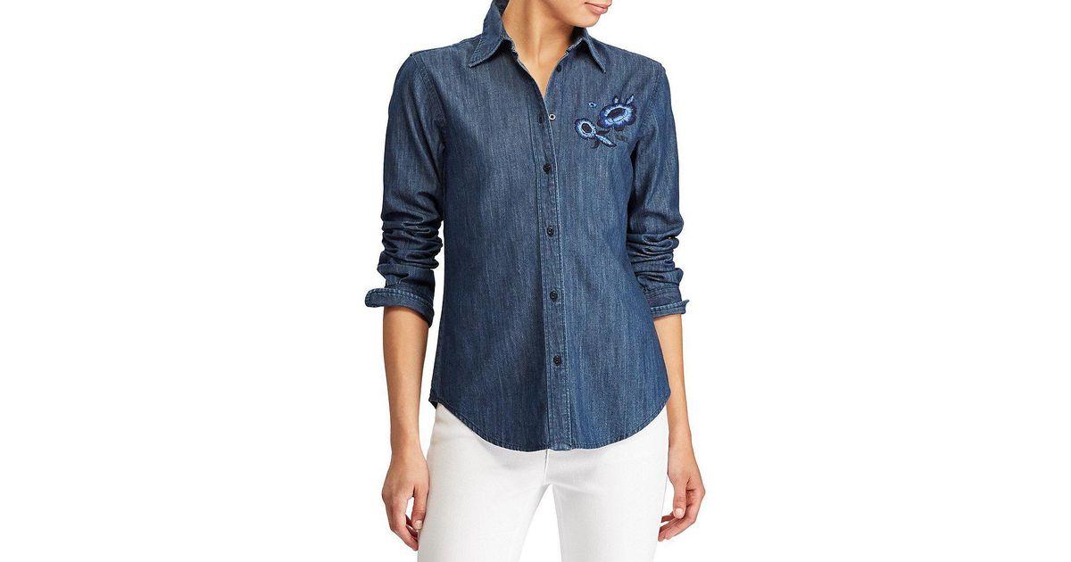 fancy Stand Neck Floral Embroidered Denim Shirt - LIGHT BLUE L