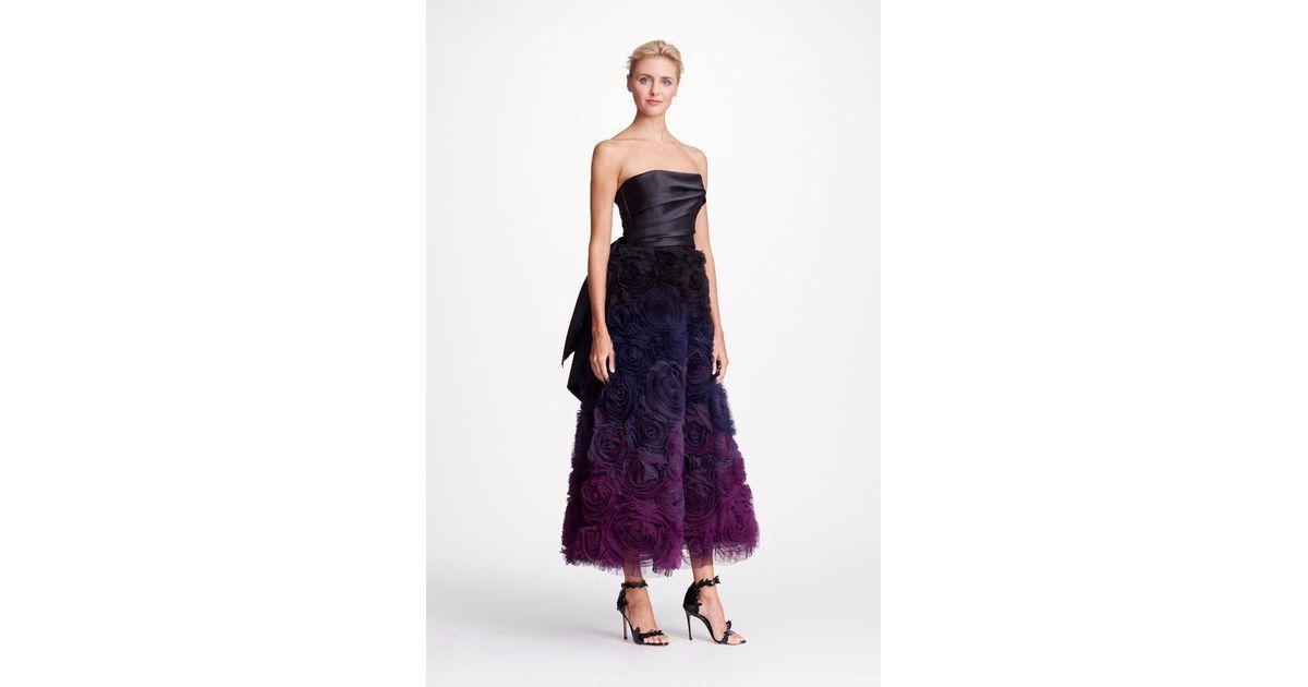 7d8610c58ef1 Marchesa notte Black Strapless Ombre Textured Midi Tea Gown in Black - Lyst