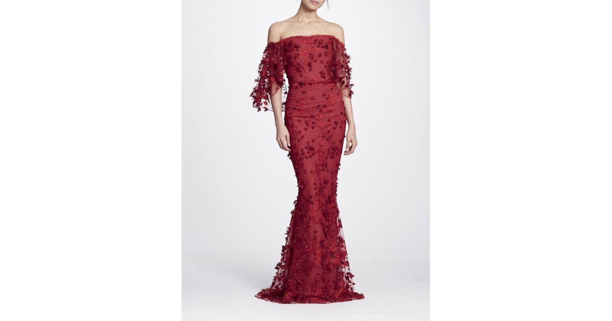 508f8d3a42a0e Marchesa notte Fall/winter 2018 Red Embroidered Off The Shoulder Gown in  Red - Lyst