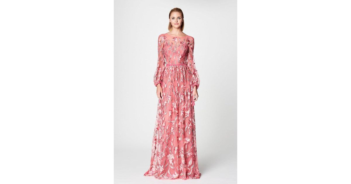 Lyst - Notte By Marchesa Long Sleeve Floral Evening Gown in Pink