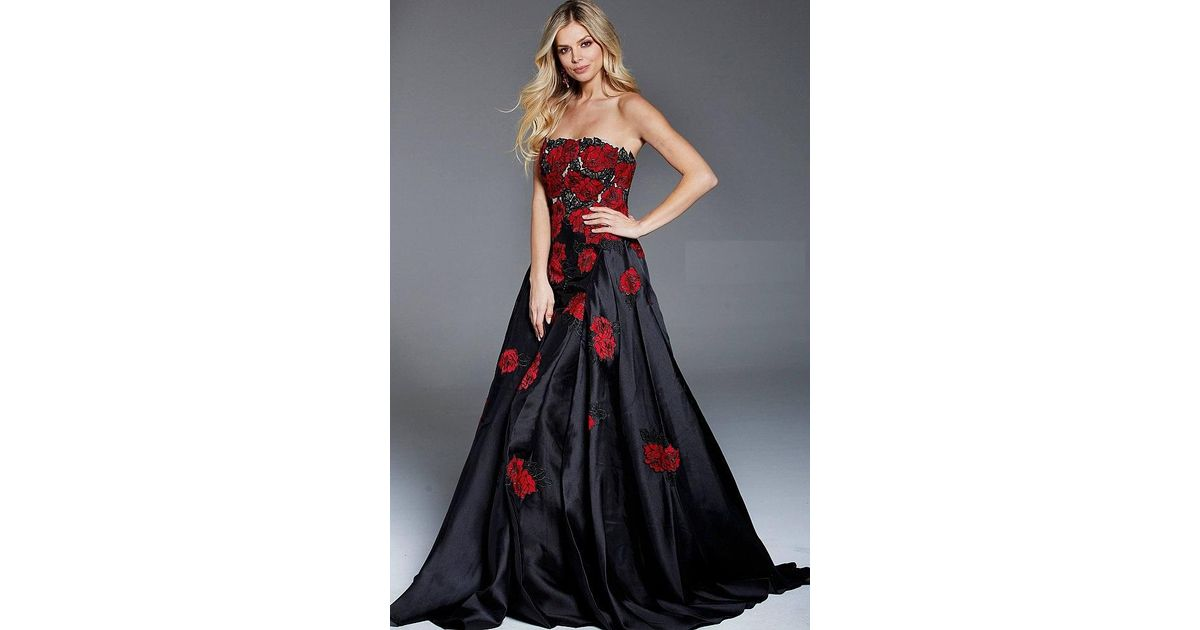 Lyst - Jovani Strapless Floral Applique Gown in Black
