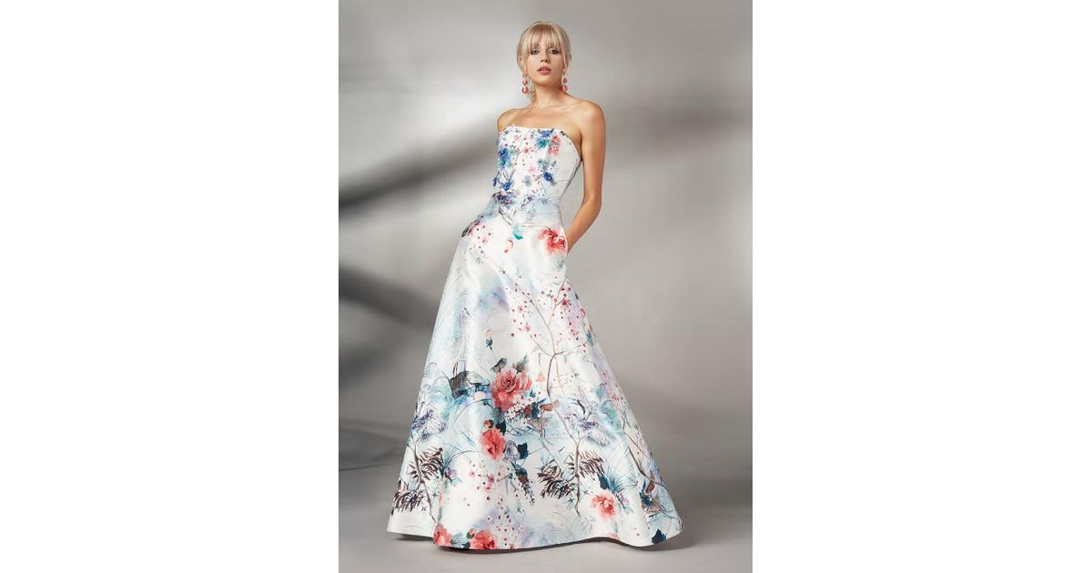 a2b8d39c91 THEIA Couture Strapless Ice Blue Floral Evening Gown in Blue - Lyst