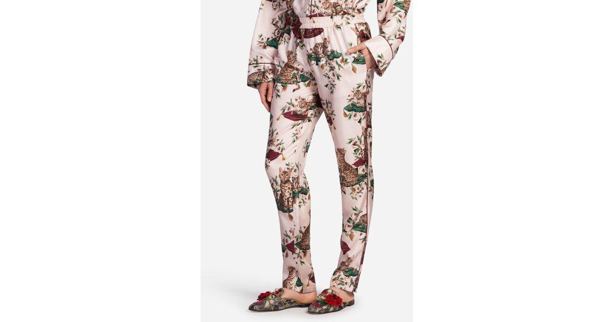 Lyst - Dolce   Gabbana Printed Silk Pajama Pants in Pink 6da9e88c0