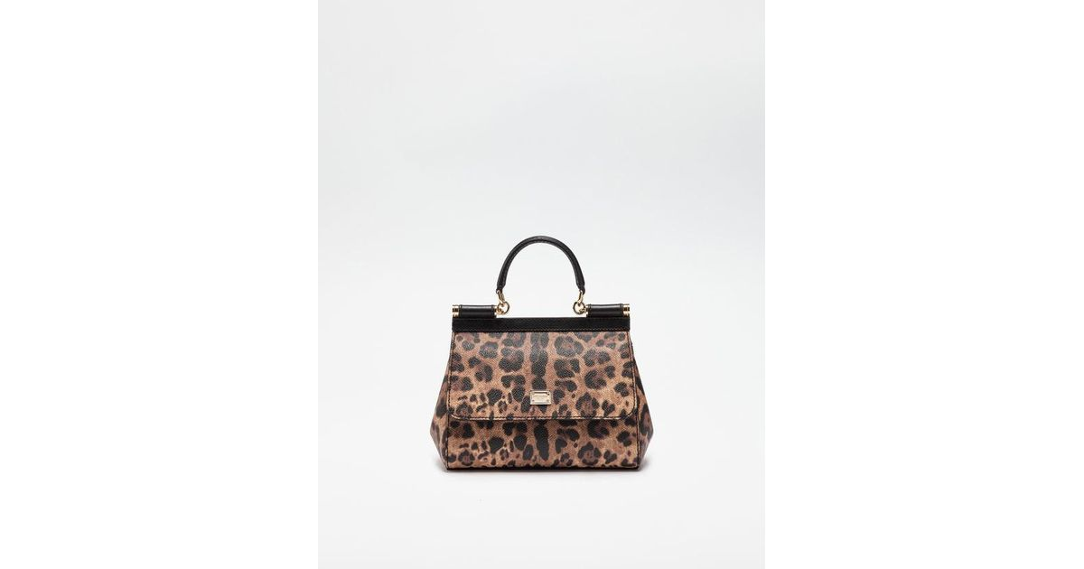 8384932b6c Lyst - Dolce   Gabbana Small Sicily Bag In Leopard Textured Leather in Brown