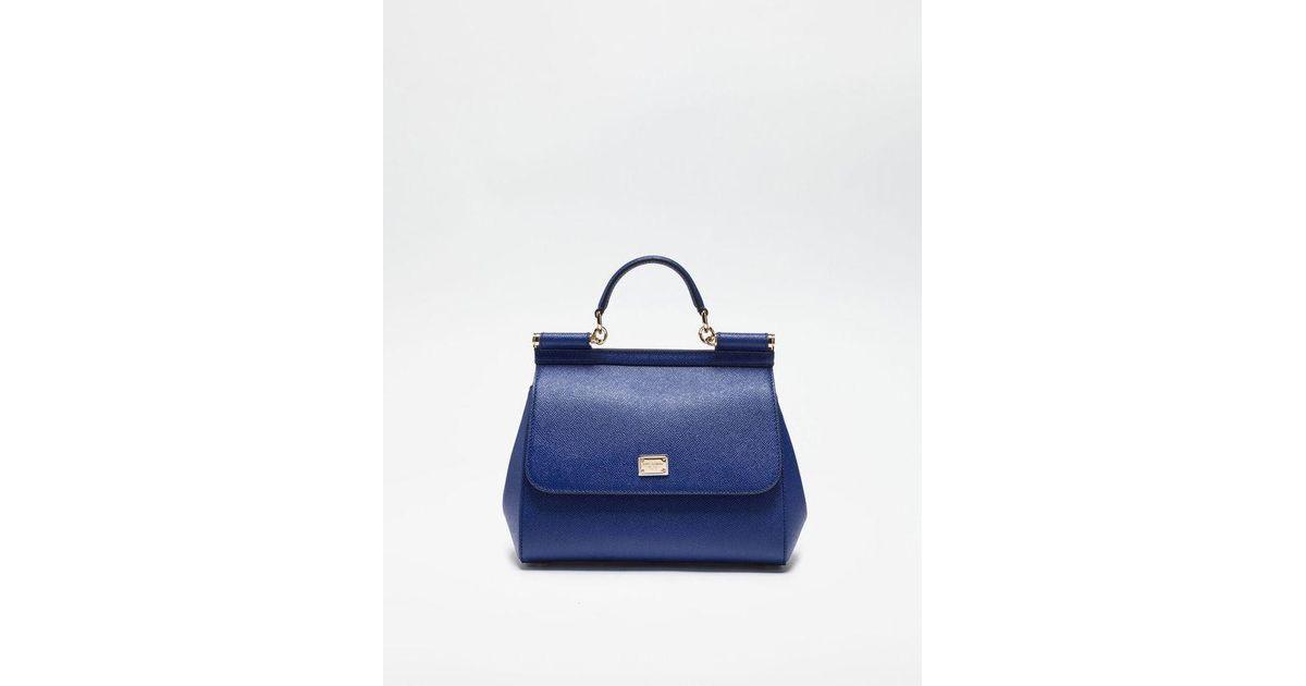 e5a047799f192 Dolce   Gabbana Mittelgrosse Tasche Sicily Aus Dauphine-Leder in Blau - Lyst