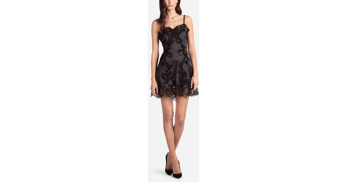 133068d4238 Dolce   Gabbana Silk Lingerie Dress With Embroidery in Black - Lyst
