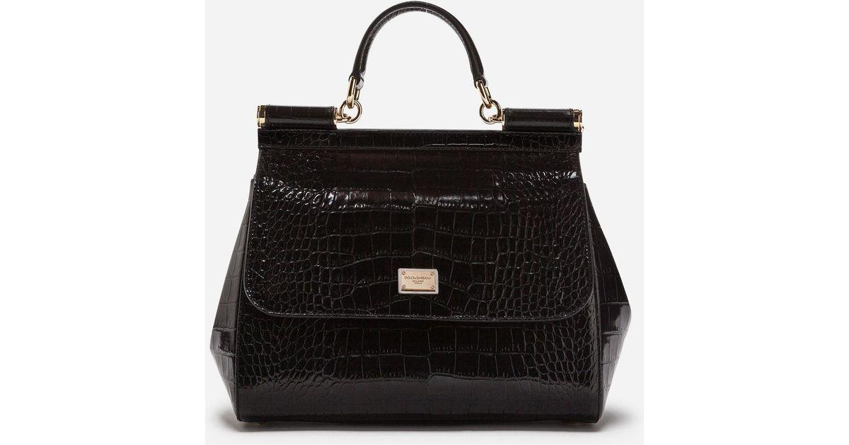 905b74221769 Lyst - Dolce   Gabbana Sicily Bag In Crocodile in Black