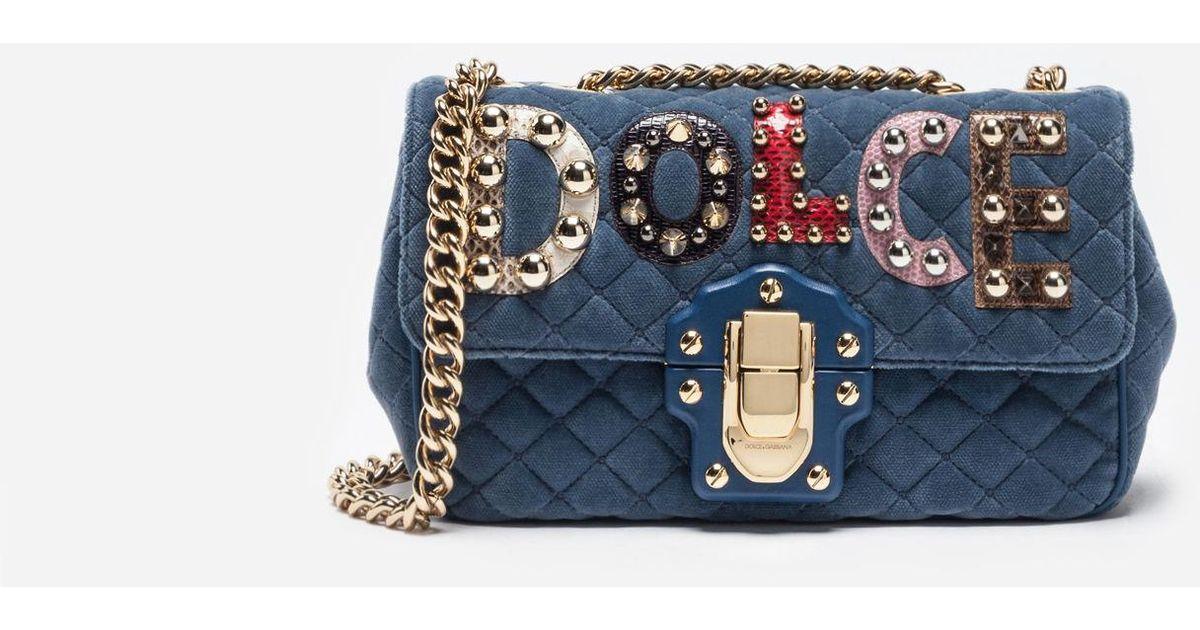 Dolce   Gabbana Velvet Lucia Shoulder Bag With Patch in Blue - Lyst 7eee918202c09