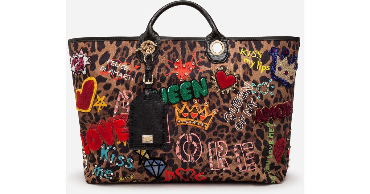a4c2cc5acc Dolce   Gabbana Capri Shopping Bag In Printed Fabric And Patch Applications  And Iguana Print Calfskin Trim - Lyst