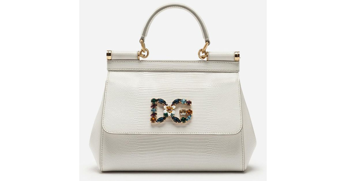 d9faf5329dac Lyst - Dolce   Gabbana Small Calfskin Sicily Bag With Iguana-print And Dg  Crystal Logo Patch in White