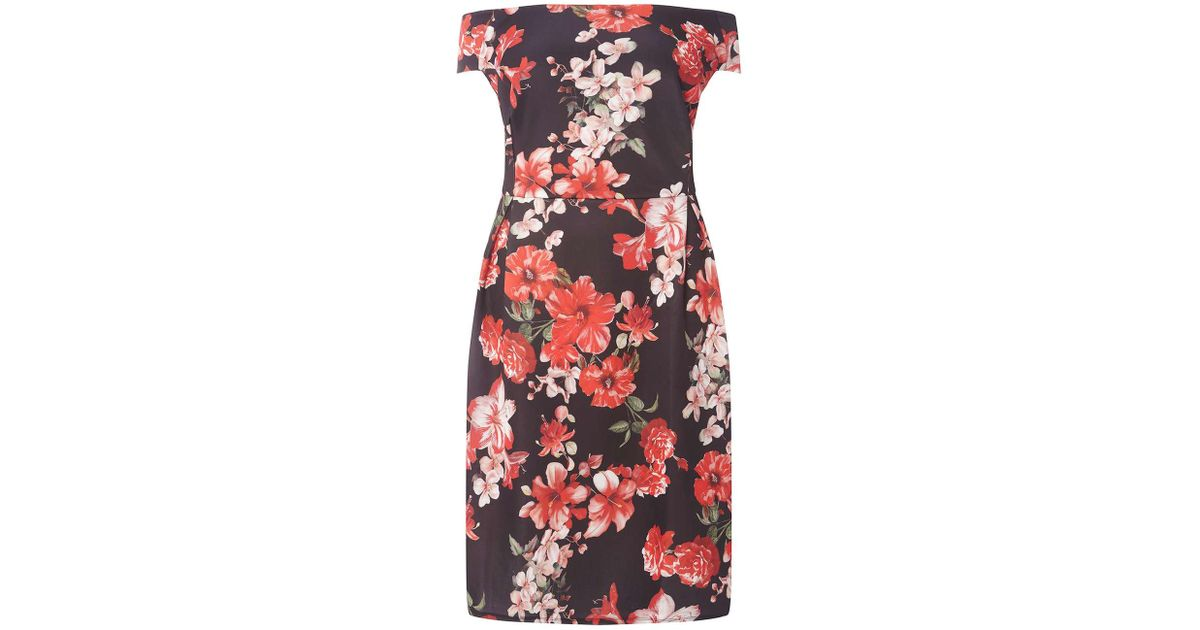 715cbe279f Dorothy Perkins Dp Curve Red Floral Print Bardot Shift Dress in Red - Lyst