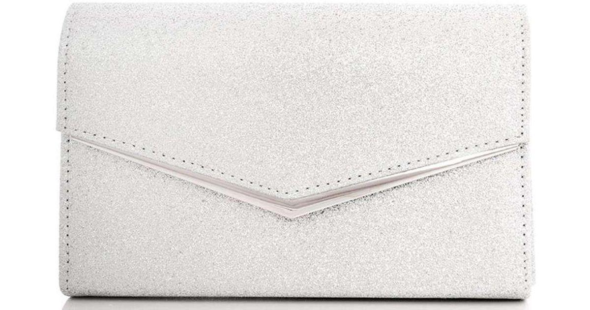 d11d15e40 Dorothy Perkins Quiz Silver Glitter Clutch Bag in Metallic - Lyst