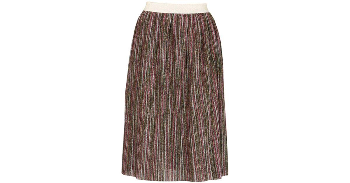 76261b6f6 Lyst - Dorothy Perkins Tenki Multi Coloured Shiny Midi Skirt in Brown