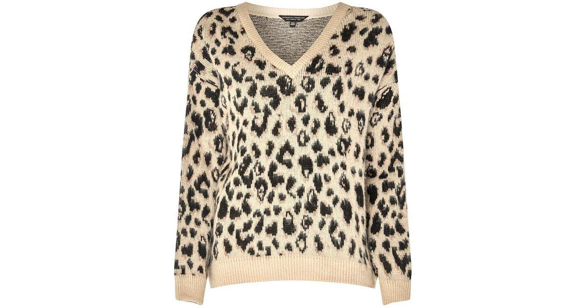 959f795e1144 Dorothy Perkins Beige Brushed Leopard Print V-neck Jumper in Natural - Lyst