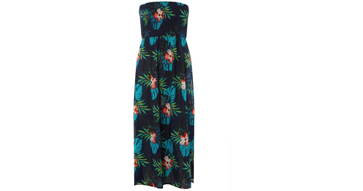 72755d8ccad3 Lyst - Dorothy Perkins Dp Beach Navy Floral Print Shirred Midi Dress in Blue