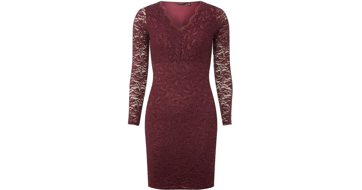 Dorothy Perkins Burgundy Glitter Lace Bodycon Dress In Red