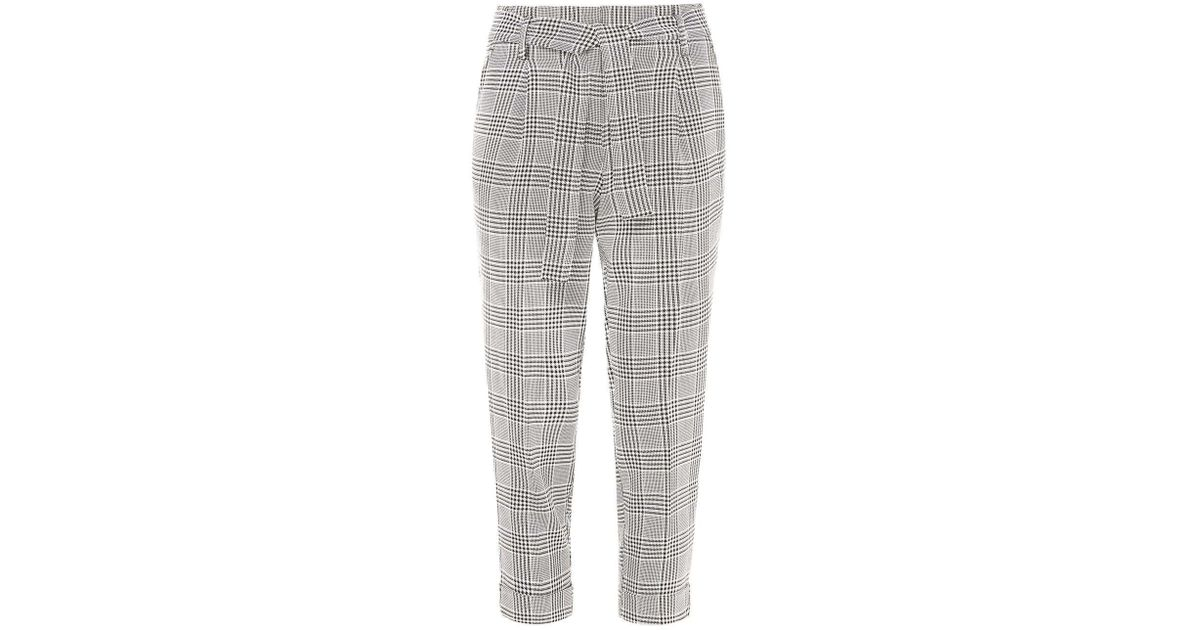 be9570ada1f597 Dorothy Perkins Petite Monochrome Checked Tie Waist Trousers in Black - Lyst