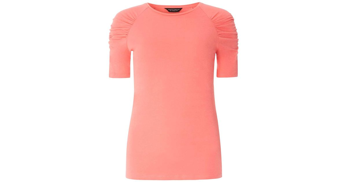04975d20f1f Lyst - Dorothy Perkins Coral Ruched Sleeve T-shirt in Pink