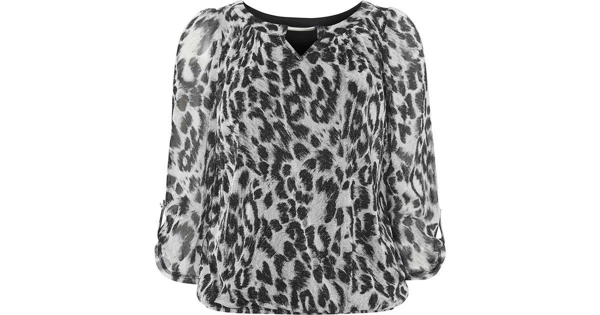 3f1bee02bda01 Dorothy Perkins Billie   Blossom Grey Leopard Print Bubble Blouse in Gray -  Lyst
