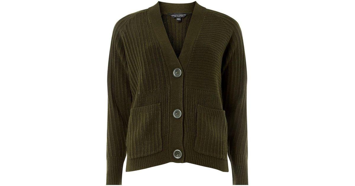 4c9982e7886 Lyst - Dorothy Perkins Khaki Large Button Cardigan