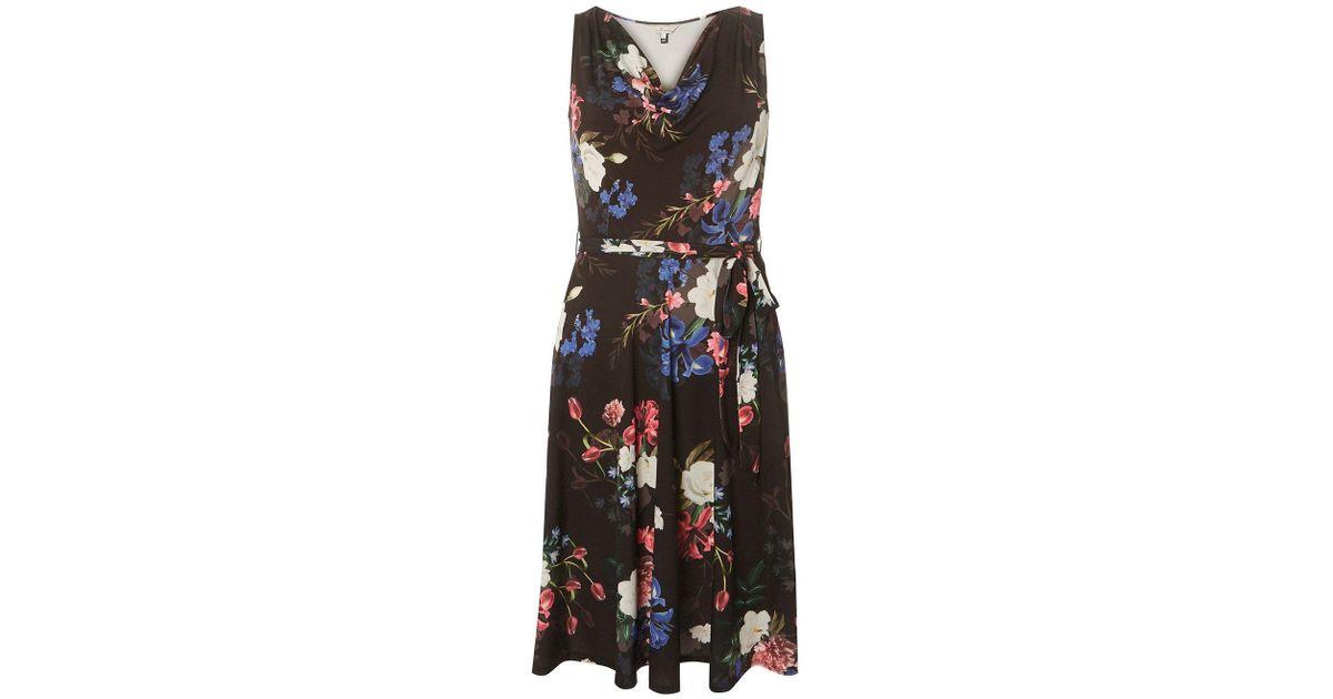 85b51f5279 Lyst - Dorothy Perkins Billie   Blossom Black Floral Print Cowl Neck Skater  Dress in Black