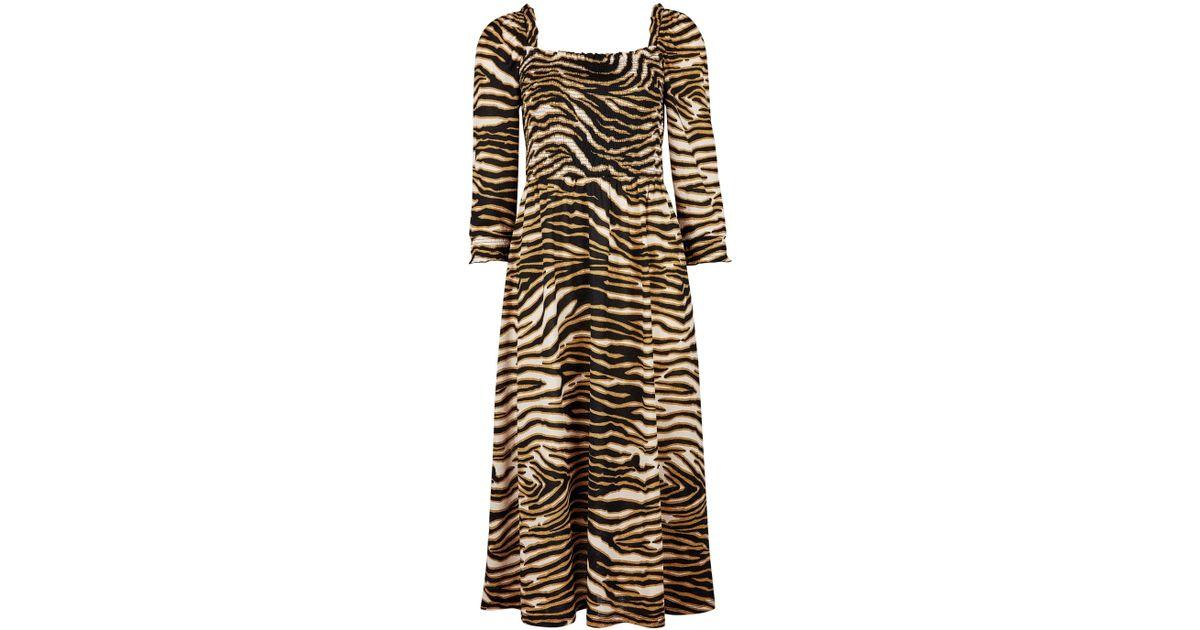 f5455575c351bd Dorothy Perkins Multi Colour Cheetah Shirred Long Sleeve Midi Skater Dress  in Black - Save 5% - Lyst