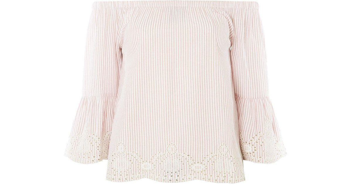 4859cfc6c66a5 Lyst - Dorothy Perkins Blush Striped Broderie Bardot Top in Pink