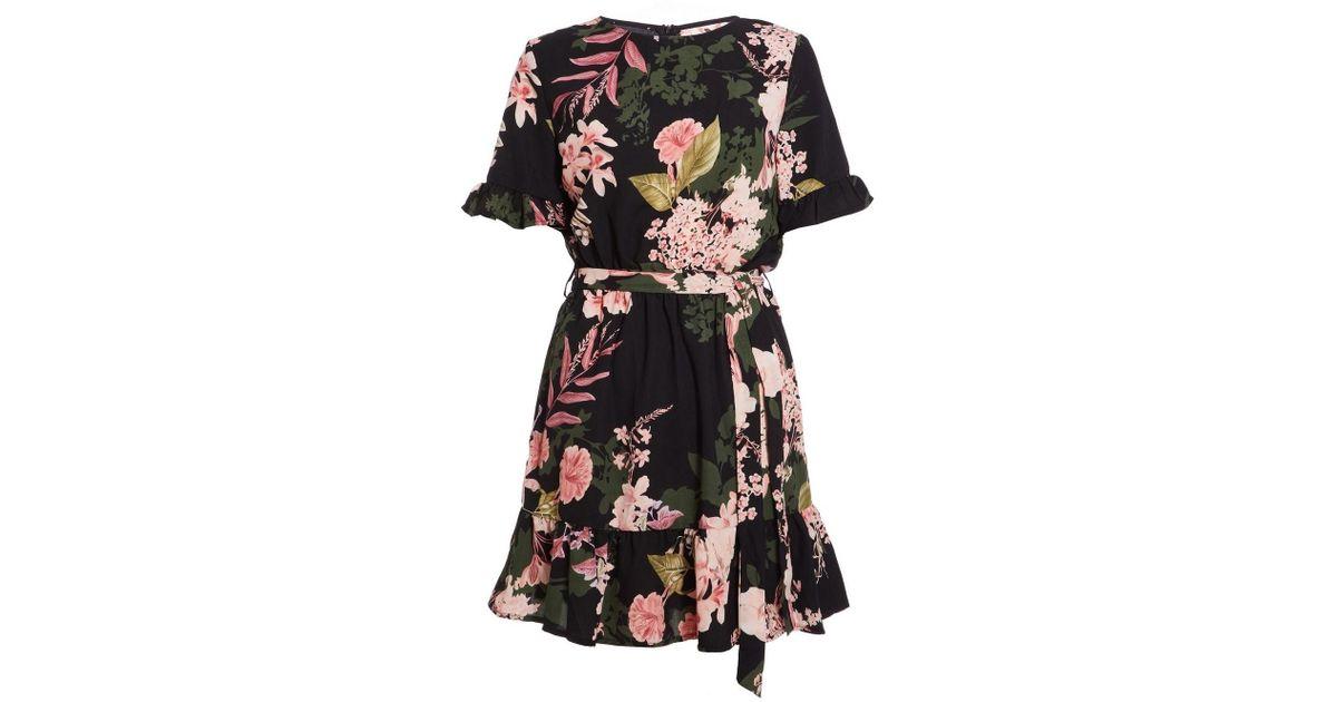 5dc3f5153cd Lyst - Dorothy Perkins Quiz Black Floral Print Frill Skater Dress in Black