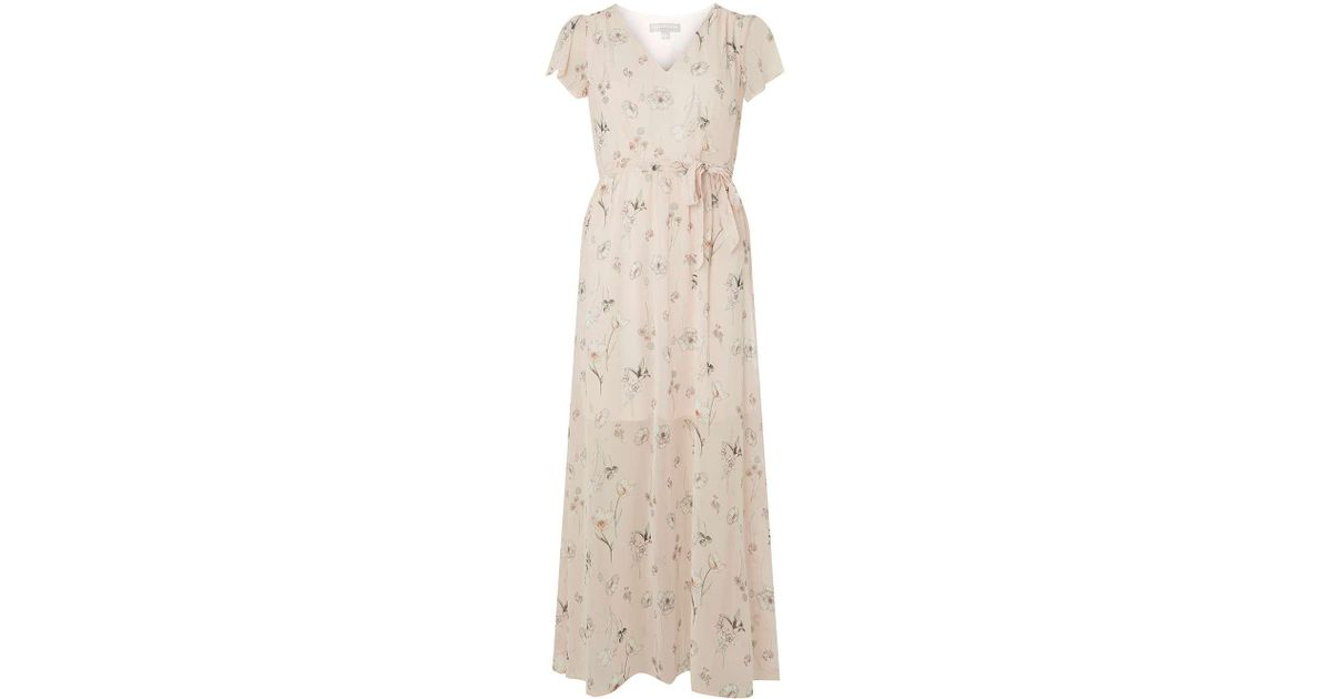 09c8df81f460 Lyst - Dorothy Perkins Petite Floral Ivory Chiffon Maxi Dress in Black