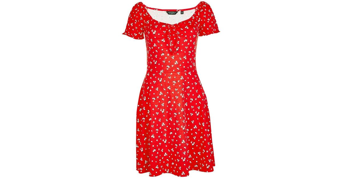 34bb5f9076a Lyst - Dorothy Perkins Red Ditsy Print Scoop Neck Skater Dress in Pink