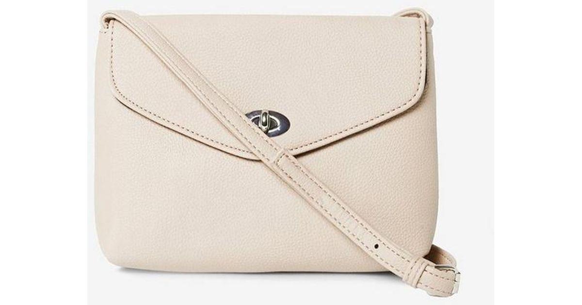 Dorothy Perkins Stone Twistlock Cross Body Bag in White - Lyst 0f05e799af45a