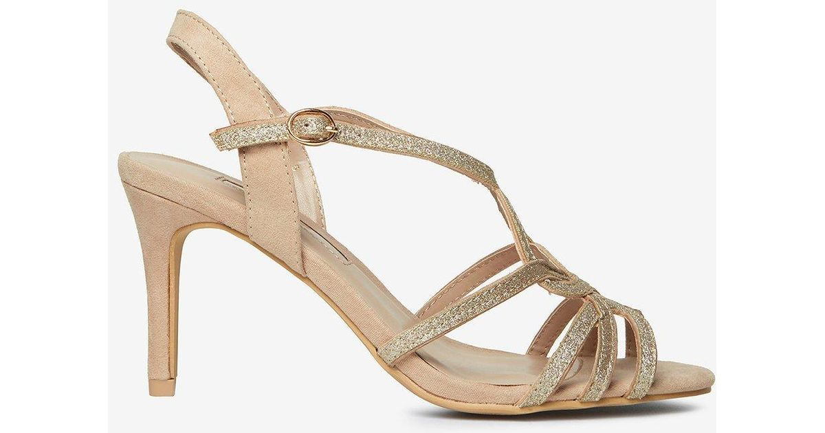 4392e2b9826 Dorothy Perkins Nude Bounty Glitter Heels Sandals in Natural - Lyst