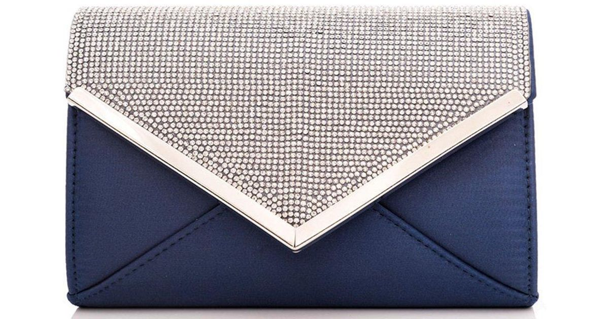 8c118329542 Dorothy Perkins Quiz Navy Diamante Clutch Bag in Blue - Lyst