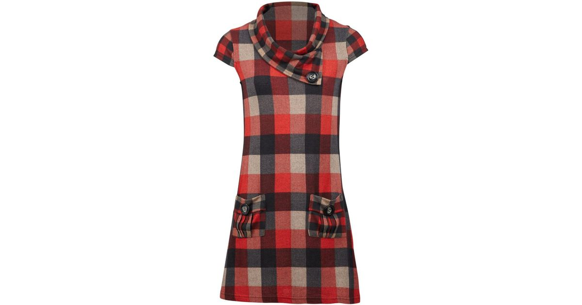 Lyst - Dorothy Perkins Izabel London Red Checked Shift Dress in Red 9913e60b5