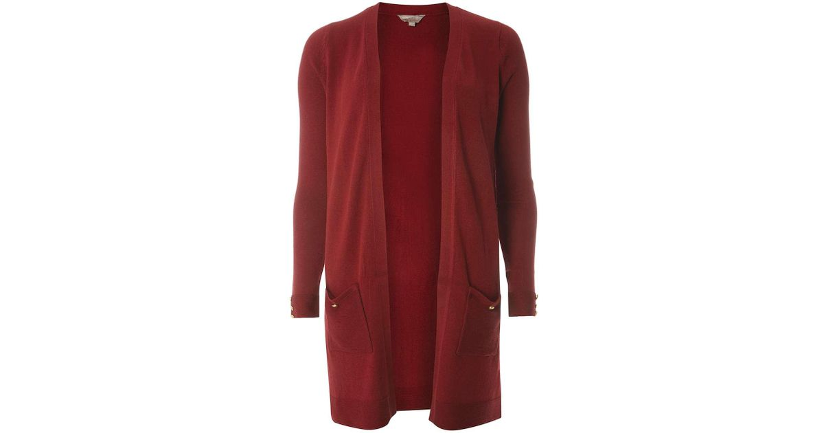 Dorothy perkins Petite Berry Long Length Cardigan in Red   Lyst